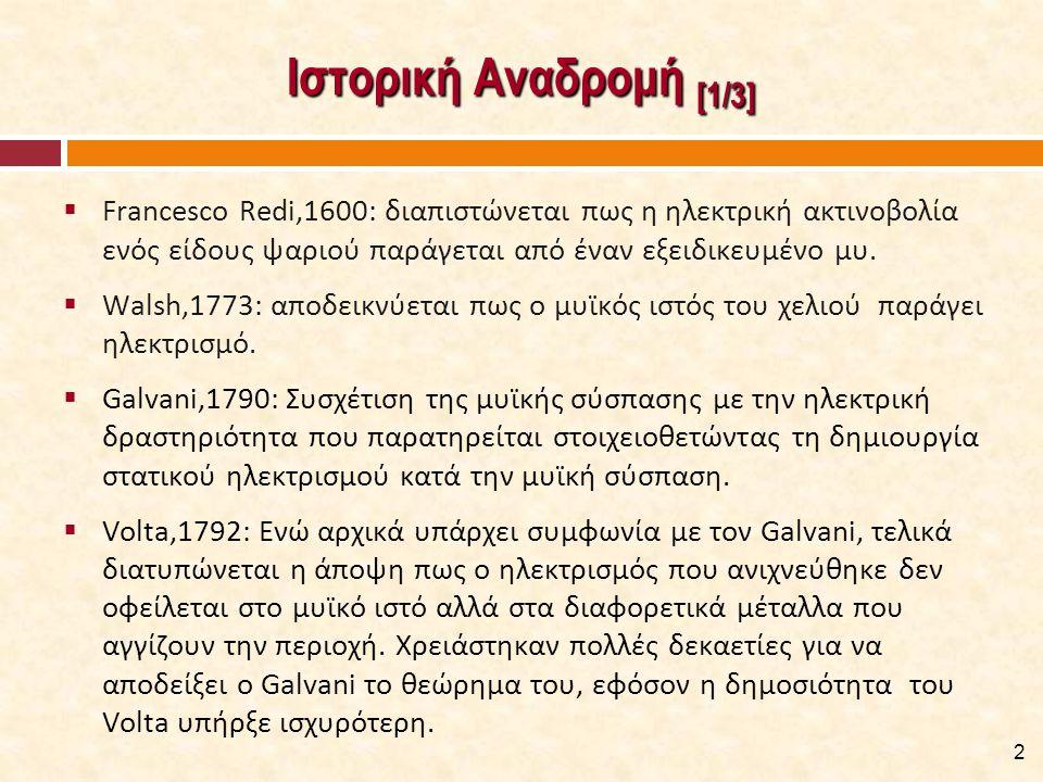 Ιστορική Αναδρομή [2/3] Galvani,1800: Κατασκευή γαλβανόμετρου, καταμέτρηση σε κύκλωμα των ηλεκτρικών κυμάτων και της μυϊκής δραστηριότητας.